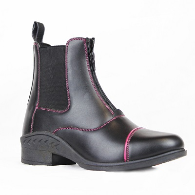 Gallop Venture Kids Pink Piped Black Paddock Boot